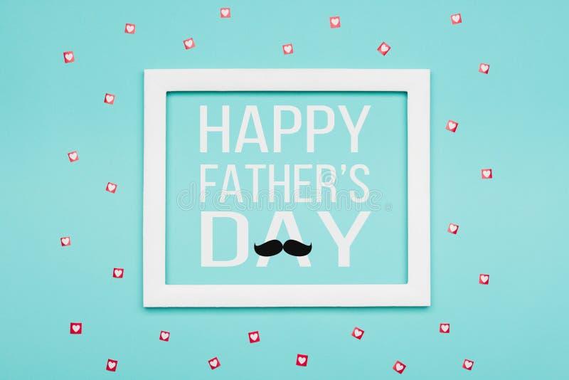 Glücklicher Vater ` s Tagpastellsüßigkeit färbt Hintergrund Flache Lageminimalismus Vatertags-Grußkarte lizenzfreie abbildung