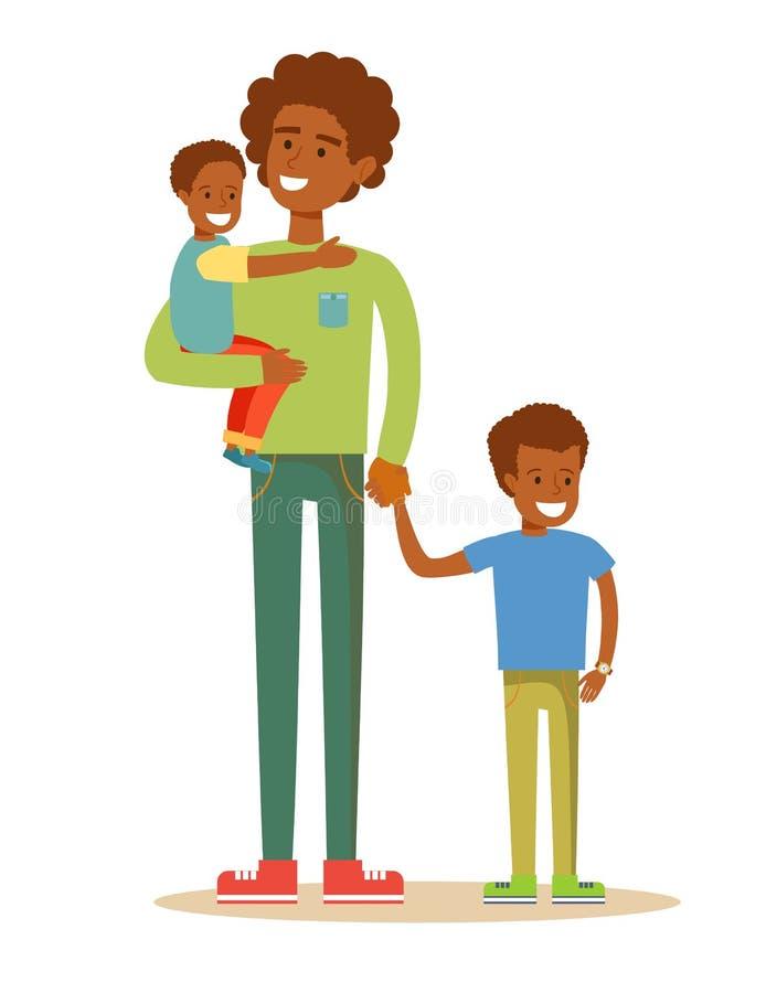 Glücklicher Vater und Söhne stock abbildung