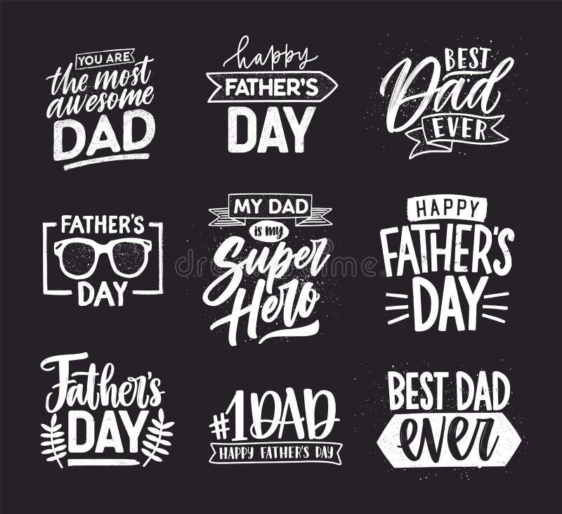 Glücklicher Vatertag kalligraphische Zusammensetzungen beschriftend Übergeben Sie gezogene Aufschriften auf dunklem Hintergrund f vektor abbildung