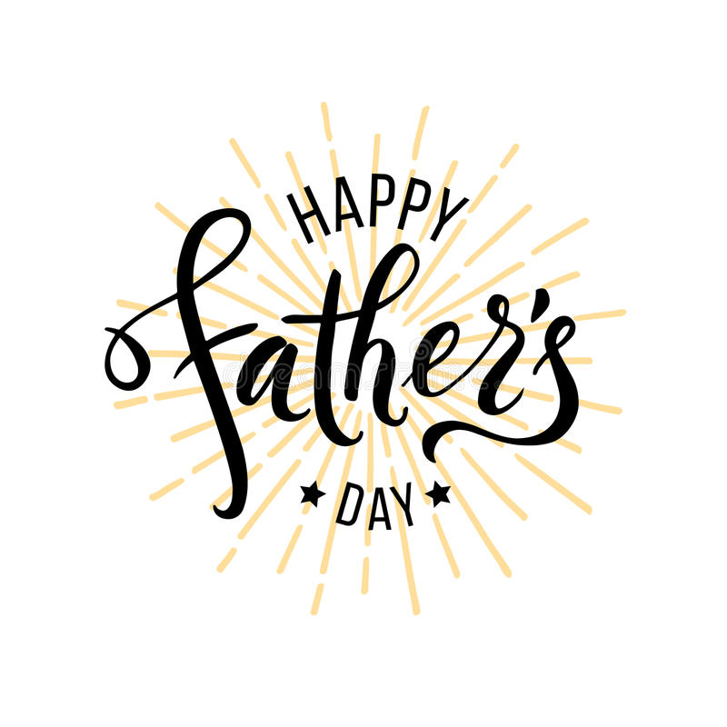 Glücklicher Vatertagsgruß Hand gezeichnete Beschriftung stock abbildung