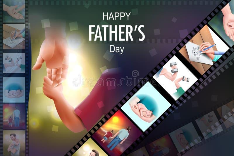 Glücklicher Vatertagshintergrund, der Abbinden und Verhältnis zwischen Kind und Vater zeigt stock abbildung