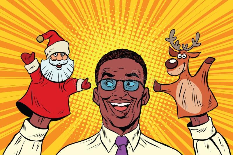 Glücklicher Vati, ein Weihnachtsmarionettentheater lizenzfreie abbildung