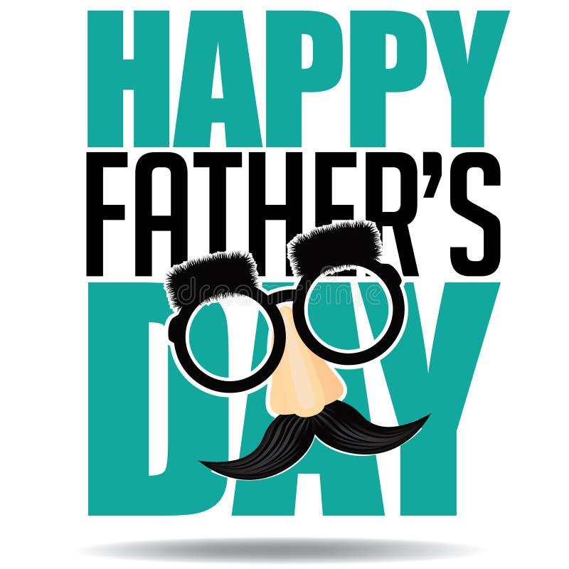 Glücklicher Vektor des Vatertags-Glasschnurrbart-Designs ENV 10 stock abbildung