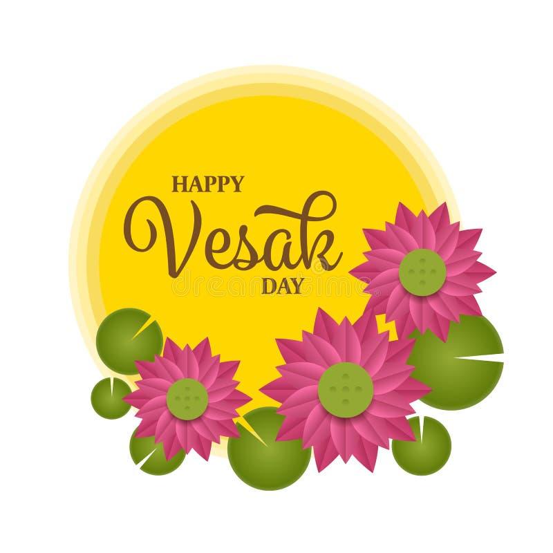 Glücklicher Vesak-Tagestext auf gelbem Vollkreismond und rosa Lotosvektor entwerfen stock abbildung