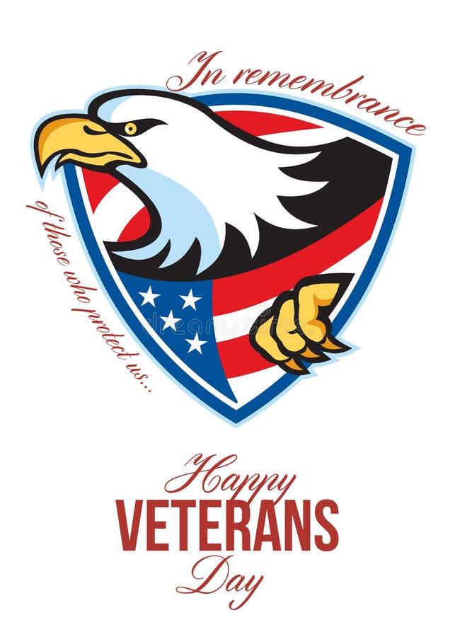 Glücklicher Veteranen-Tagesamerikaner Eagle Greeting Card vektor abbildung