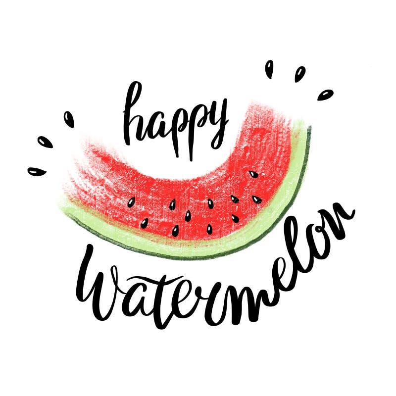 Glücklicher Wassermelonentag und rote saftige Scheibe der geschmackvollen Wassermelone mit Samenplakat auf weißem Hintergrund lizenzfreie abbildung