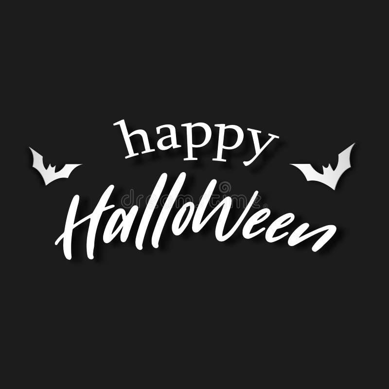 Glücklicher weißer Buchstabe Halloweens auf schwarzem Hintergrund Einladungsschreiben- und Mitteilungsfahnenkonzept Feiertags- un vektor abbildung