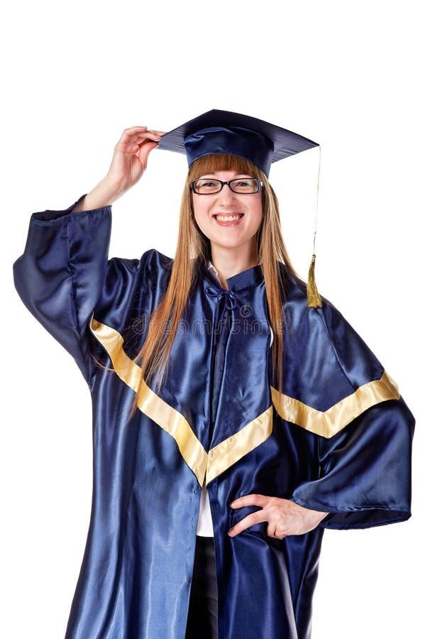 Glücklicher weiblicher Absolventkursteilnehmer lizenzfreie stockfotos