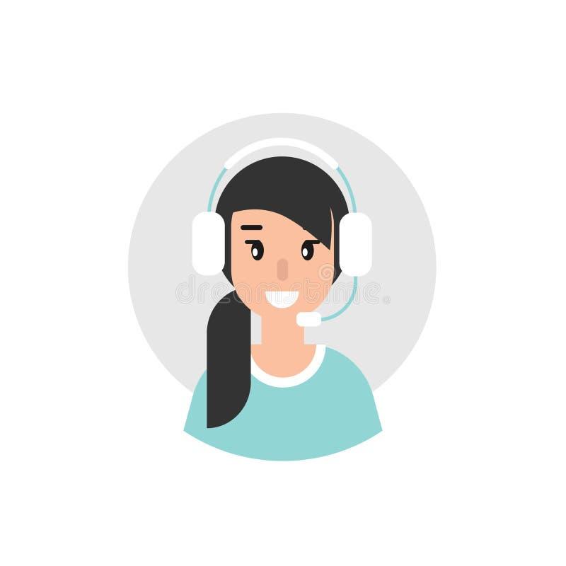Glücklicher weiblicher Betreiber mit Kopfhörern und Mikrofon im blauen Kreis lizenzfreie abbildung