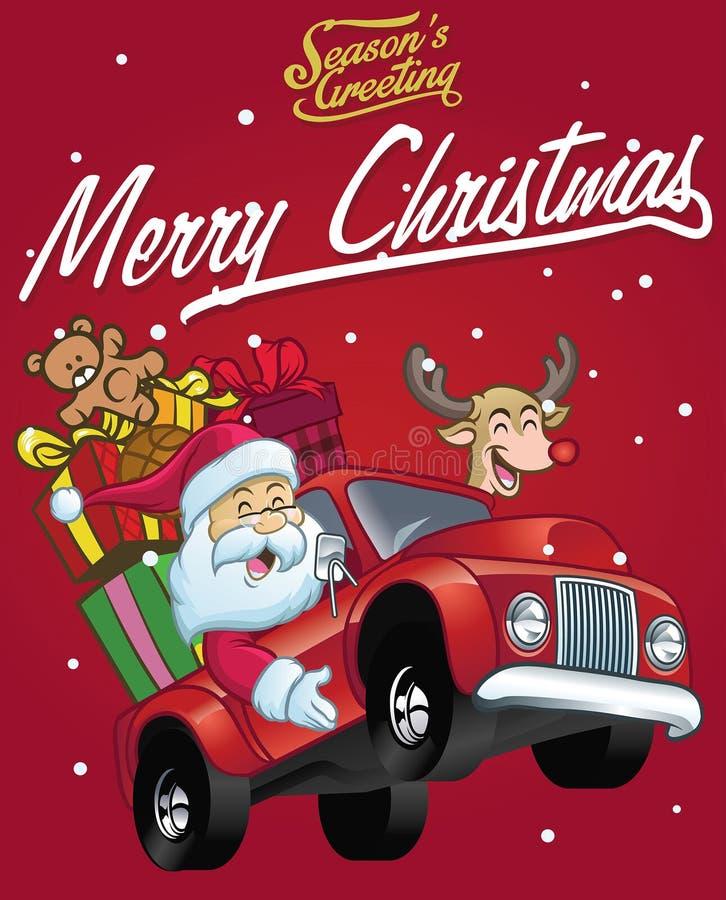 Glücklicher Weihnachtsmann-Antrieb ein LKW voll von Weihnachtsgeschenken lizenzfreie abbildung