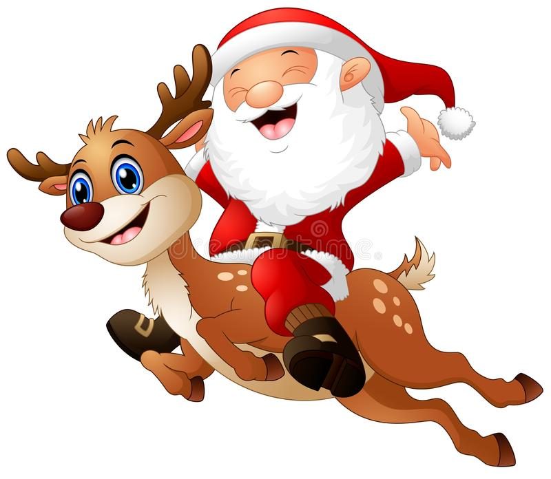 Glücklicher Weihnachtsmann, der ein Ren reitet lizenzfreie abbildung