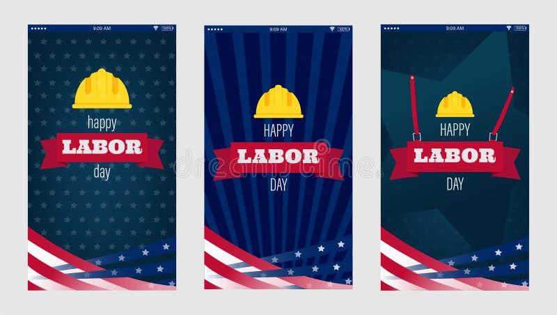 Glücklicher Werktag für Handyschirmentwurf Vertikaler Beschaffenheitshintergrund USA-Werktags Glückliche Werktagsfeiertagsfahne m lizenzfreie stockfotografie