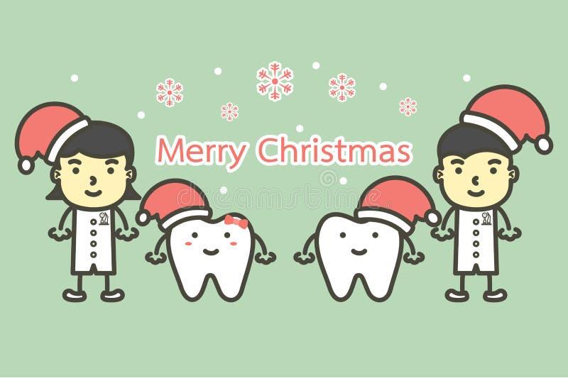 Glücklicher Zahn und Zahnarzt, die Weihnachtsmann-Hut für frohe Weihnachten und guten Rutsch ins Neue Jahr trägt stock abbildung