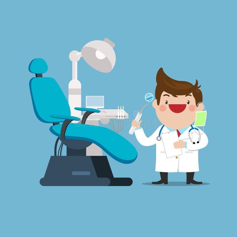 Glücklicher Zahnarzt Doctor mit Stuhl im zahnmedizinischen Kabinett und in den instrumentellen Werkzeugen vektor abbildung