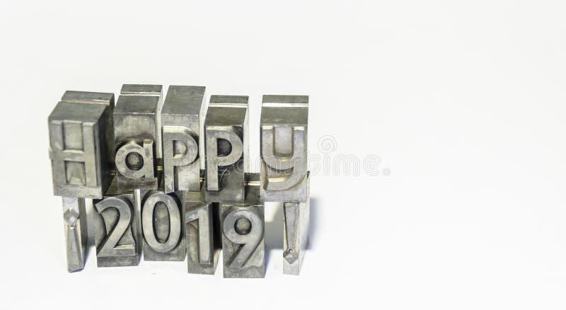 Glückliches über 2019 mit Arten der Presse lizenzfreies stockfoto