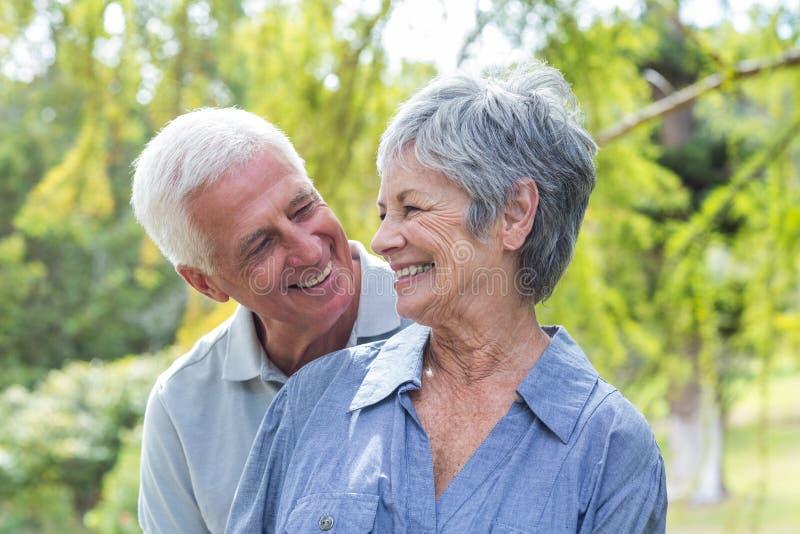 Glückliches altes Paarlächeln stockbilder