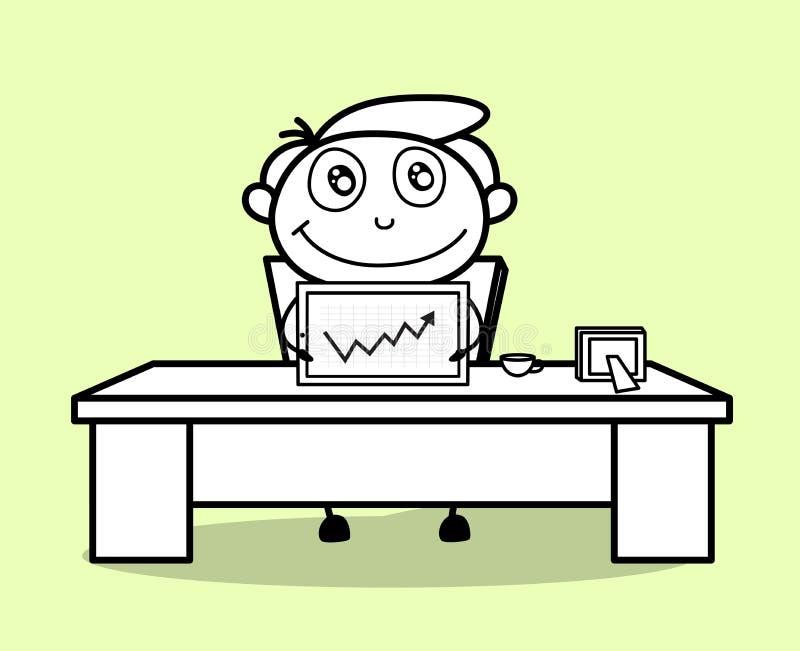 Glückliches Angestellt-Vertretungs-Geschäfts-Status-Diagramm lizenzfreie abbildung