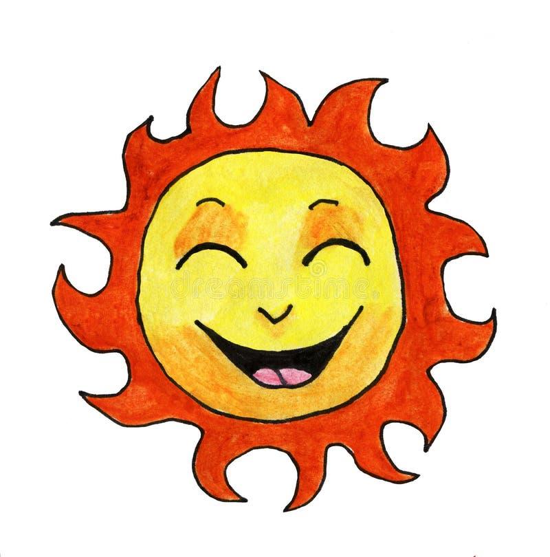 Glückliches Aquarell Sun vektor abbildung