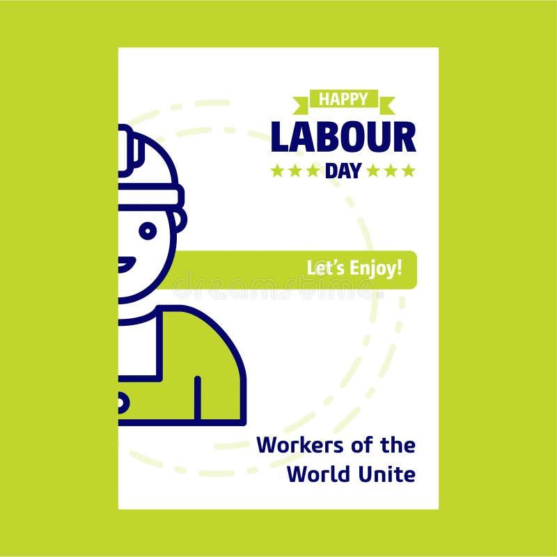 Glückliches Arbeitstagesdesign mit grünem und blauem Themavektor mit La stock abbildung