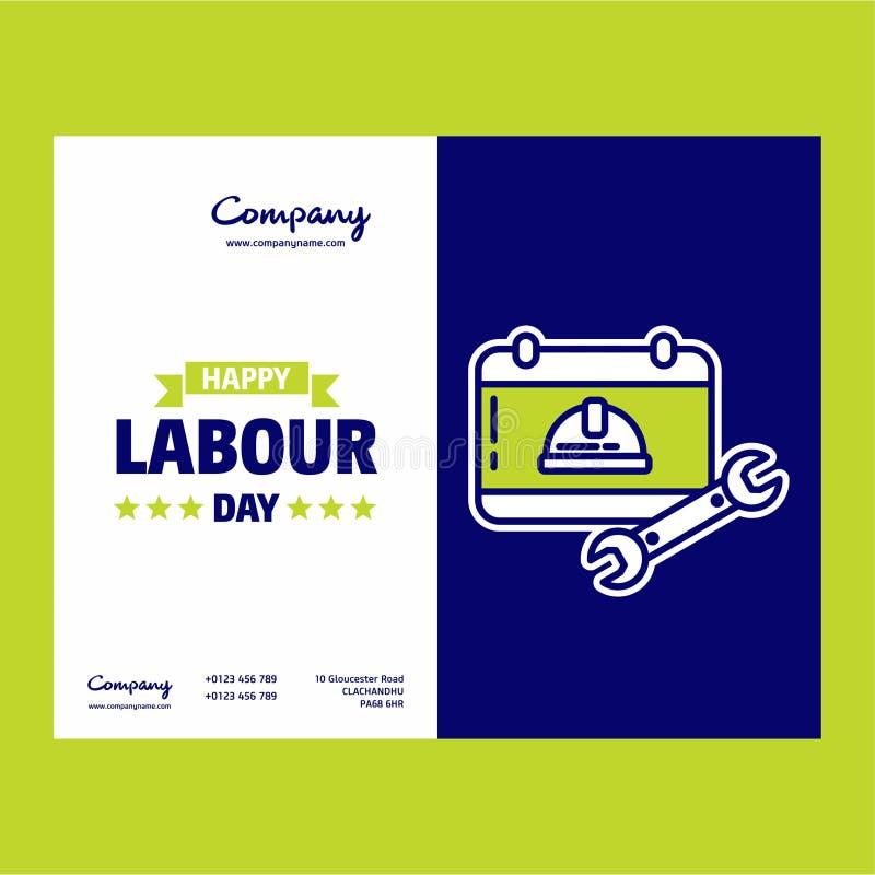 Glückliches Arbeitstagesdesign mit grünem und blauem Themavektor mit La vektor abbildung