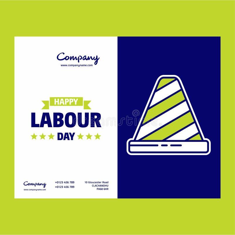 Glückliches Arbeitstagesdesign mit grünem und blauem Themavektor mit La lizenzfreie abbildung