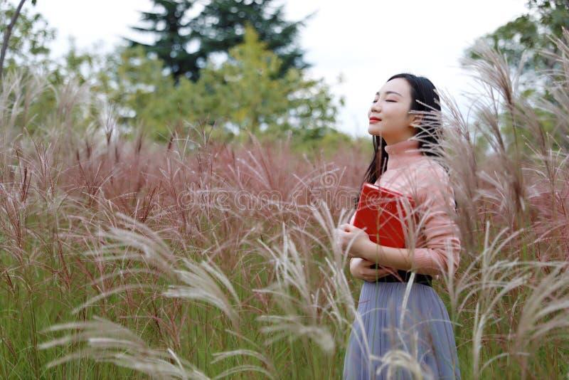 Glückliches asiatisches Chinesinmädchen, das Traum in der Blumenfeld-Herbstfallparkrasen-Hoffnungsnatur beten, las die sorglose B stockbilder