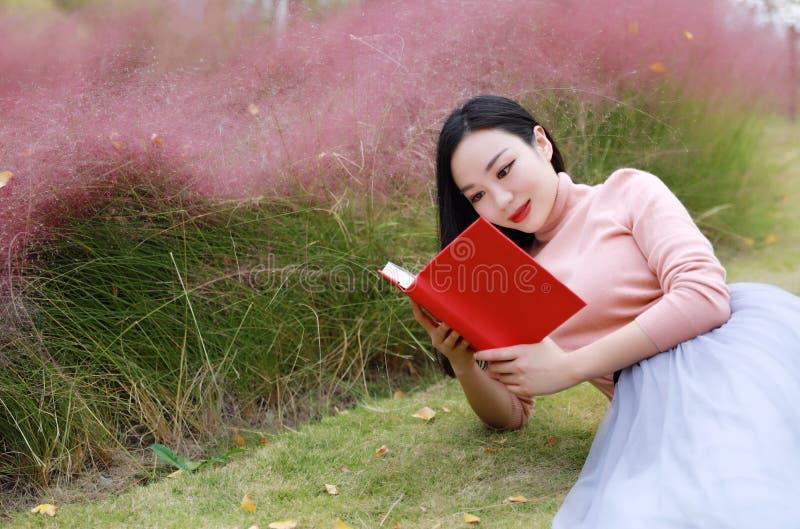Glückliches asiatisches Chinesinmädchen, das Traum in der Blumenfeld-Herbstfallparkrasen-Hoffnungsnatur beten, las die sorglose B lizenzfreie stockbilder