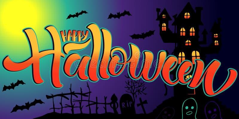 Glückliches beschriftendes Halloween, Vektorillustration Handgezogener Text, Geist, Schädel, Kürbis, Grab lizenzfreie abbildung