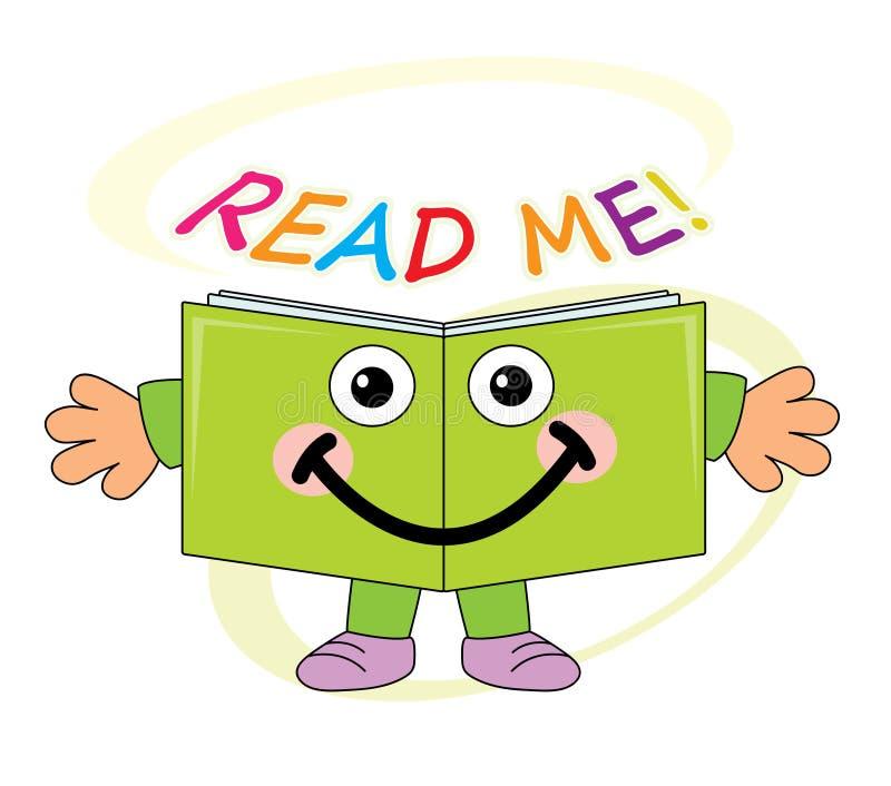 Glückliches Buchmaskottchen - gelesen mir! vektor abbildung