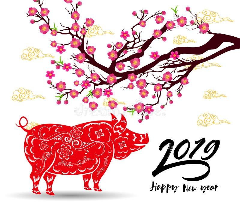 Glückliches Chinesisches Neujahrsfest 2019-jährig vom Schwein neues Mondjahr vektor abbildung