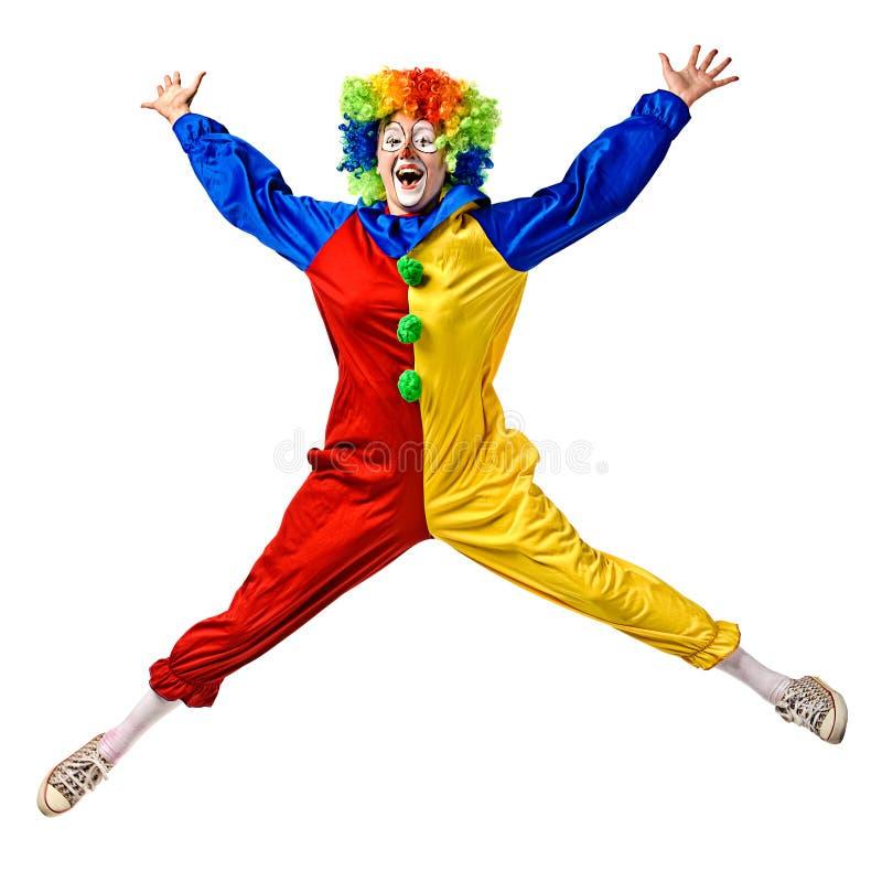 Glückliches Clownspringen stockbilder