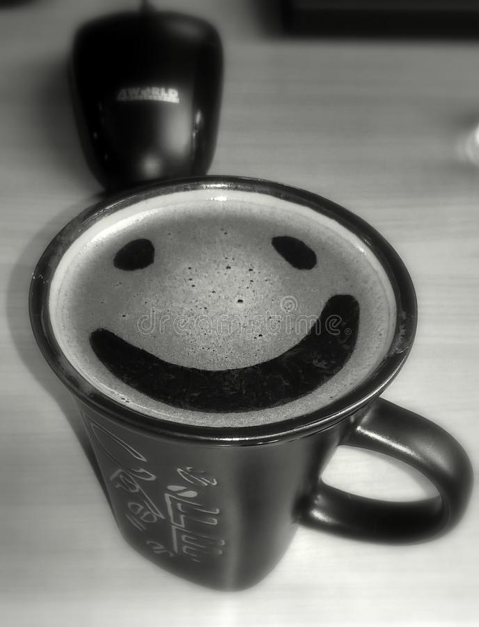 Glückliches Coffe mit Maus lizenzfreies stockbild