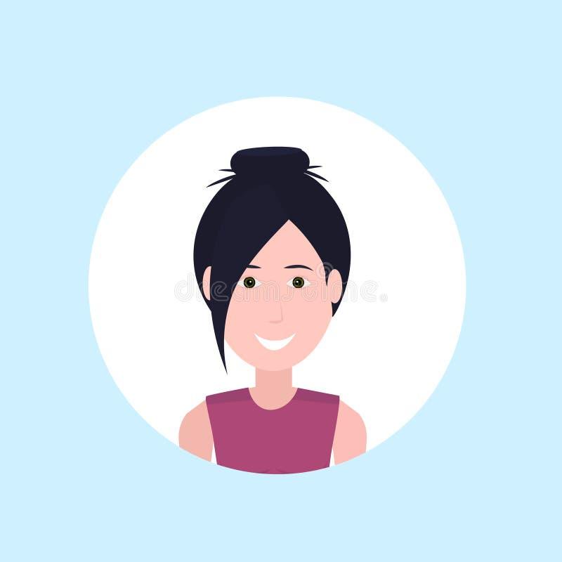 Glückliches Damenporträt des Asiatingesichtes auf blauem Hintergrund, weiblicher Avatara flach stock abbildung