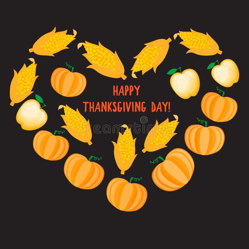 Glückliches Danksagungs-Tagesdesign Autumn Cartoon Heart mit orange Gemüsekürbismaisapfel Keine Steigungen lizenzfreie abbildung