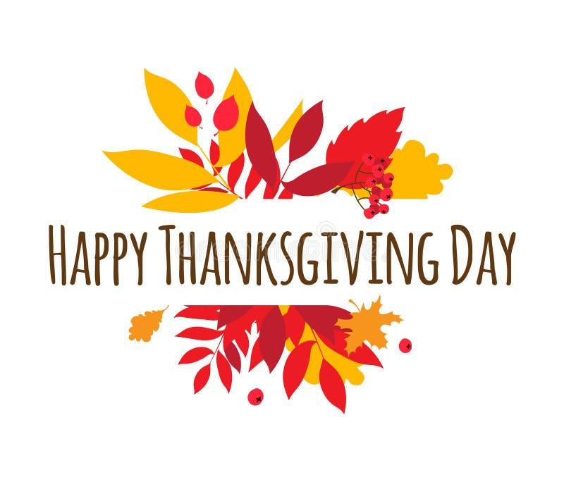 Glückliches Danksagungs-Tagestypographie-Beschriftungsplakat Herbstfall lässt Beeren vektor abbildung