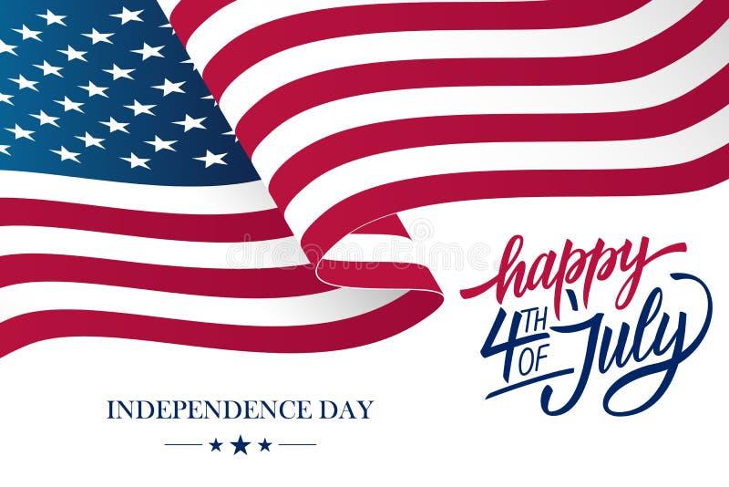 Glückliches 4. der Unabhängigkeitstag-Grußkarte Julis USA mit dem Wellenartig bewegen der amerikanischen Staatsflagge- und Handbe lizenzfreie abbildung