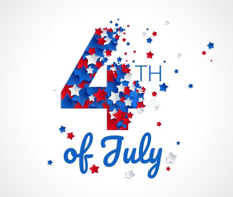 Glückliches 4. des Juli-Grußkarten-Vektorhintergrundes stock abbildung