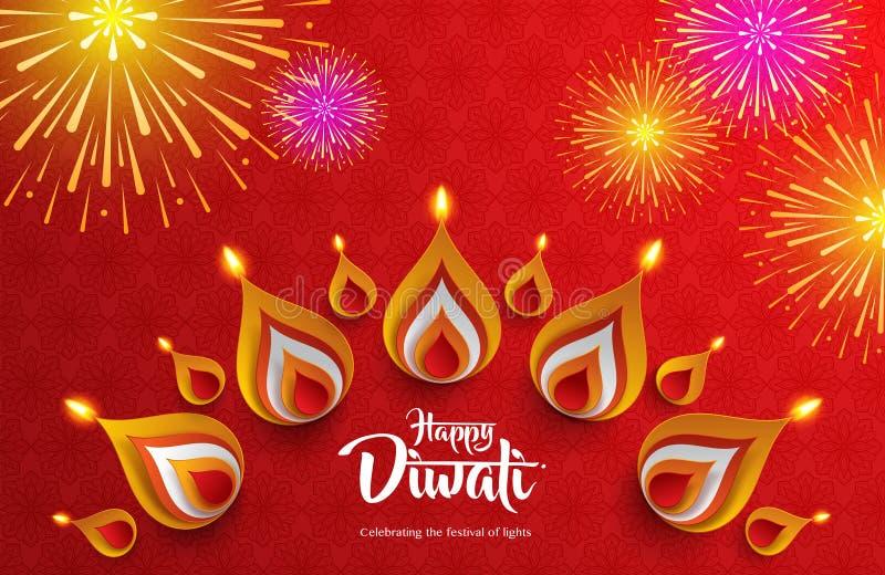 Glückliches Diwali Feiern des Festivals der Leuchten lizenzfreie abbildung