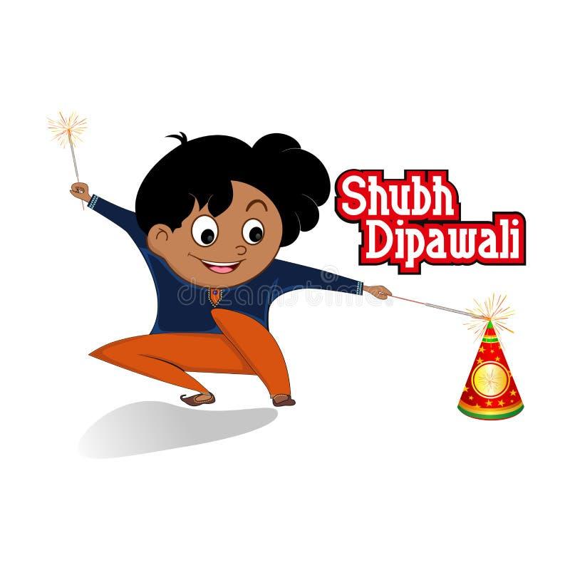 Glückliches diwali Festival Diwali-Feuercracker mit Jungen lizenzfreie abbildung