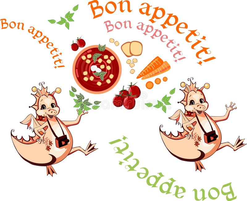 Glückliches Drachewunsch Bon appetit Schöne Karte mit gesundem Lebensmittel lizenzfreie abbildung