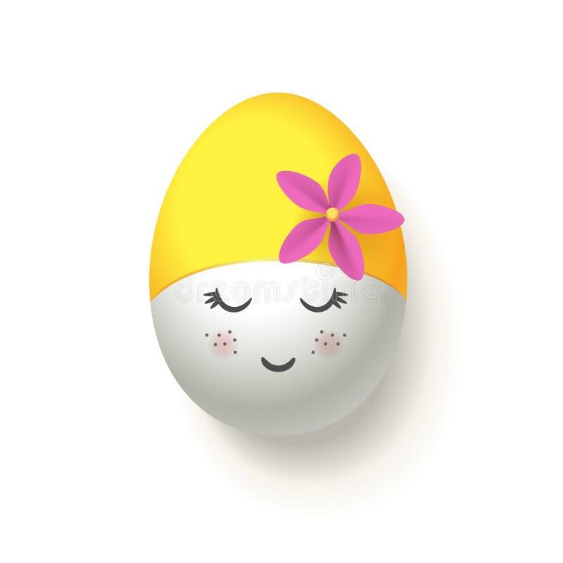 Glückliches Easter Egg mit der gelben Retro- schwimmenden Kappe - lokalisiert auf weißem Hintergrund stock abbildung
