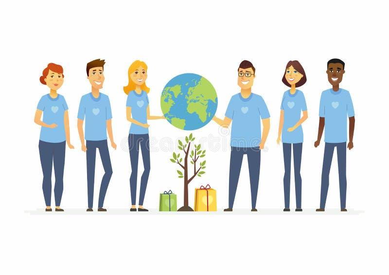 Glückliches eco erbietet - lokalisierte Illustration der Karikaturleute Charaktere freiwillig vektor abbildung