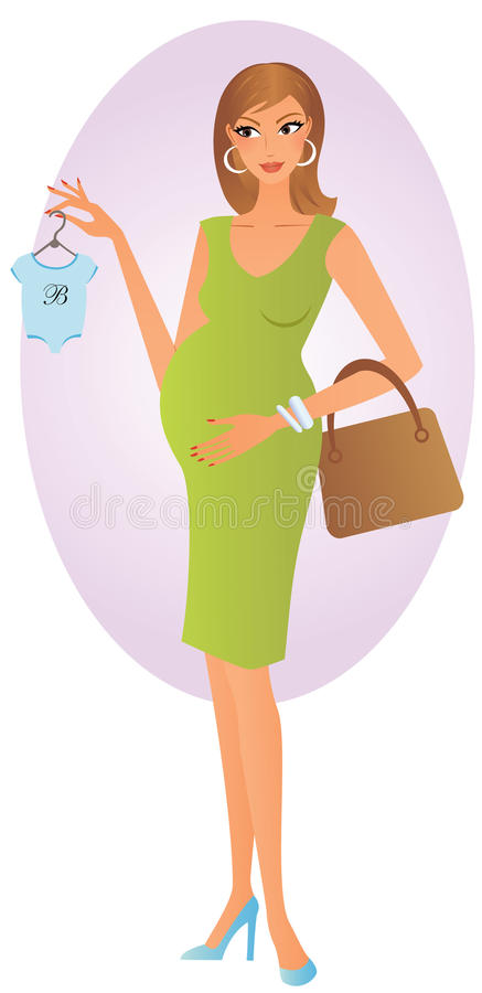 Glückliches Einkaufen der schwangeren Frau für Schätzchenkleidung stock abbildung