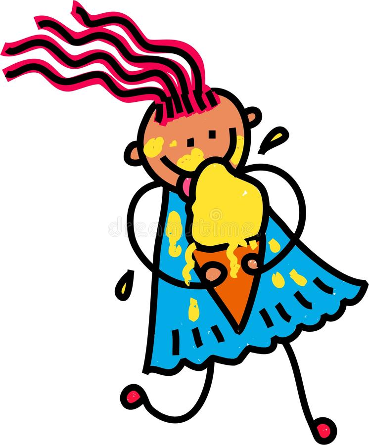 Glückliches Eiscreme-Mädchen vektor abbildung