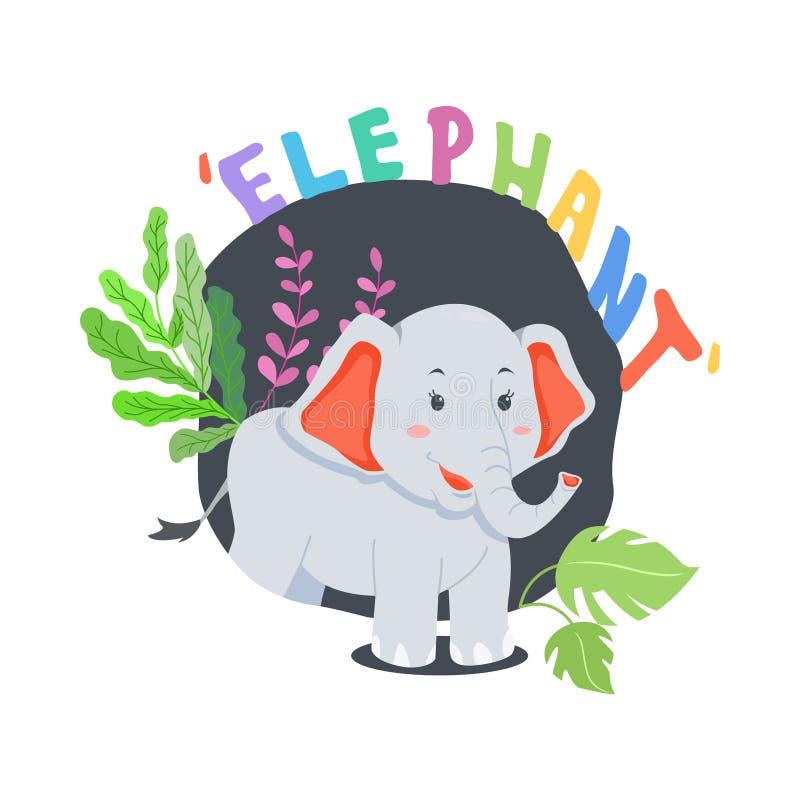 Glückliches Elefant-Karikatur-Konzept mit Blatt und Typografie-Vektor-Illustration lizenzfreie abbildung