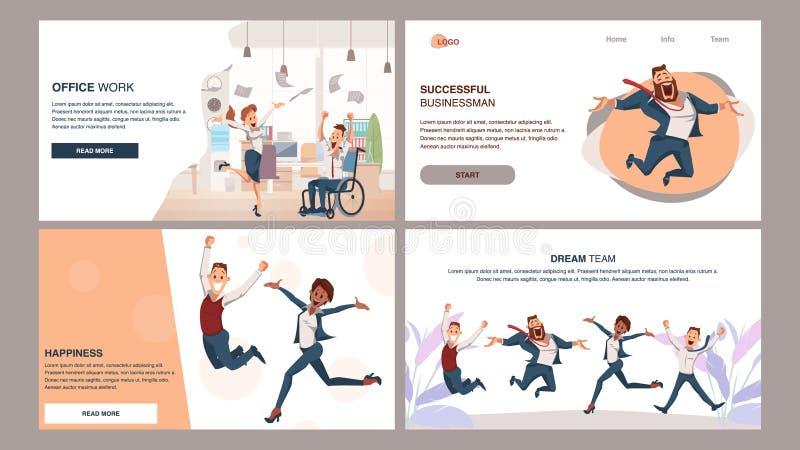 Glückliches erfolgreiches Coworking-Geschäft Team Jump Up stock abbildung
