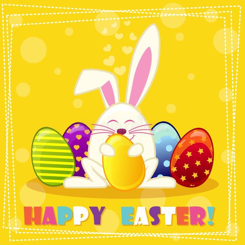 Glückliches Esterkaninchen und mehrfarbige Eier stock abbildung