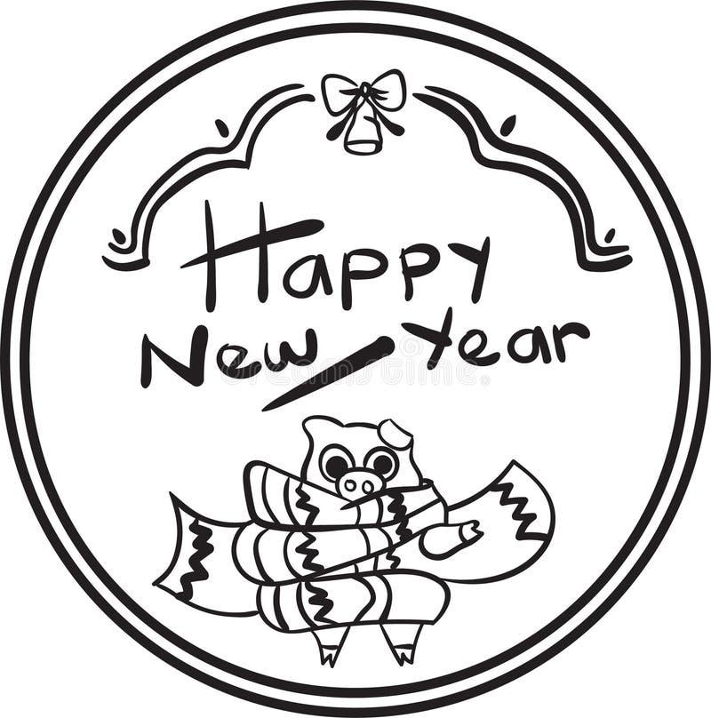 Glückliches Färbungsseite des neuen Jahres 2019 des Schweins für Kind lizenzfreie stockfotos