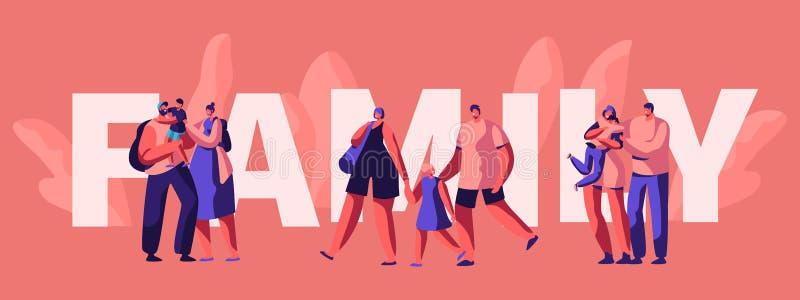 Glückliches Familien-Wochenenden-Typografie-Plakat vektor abbildung