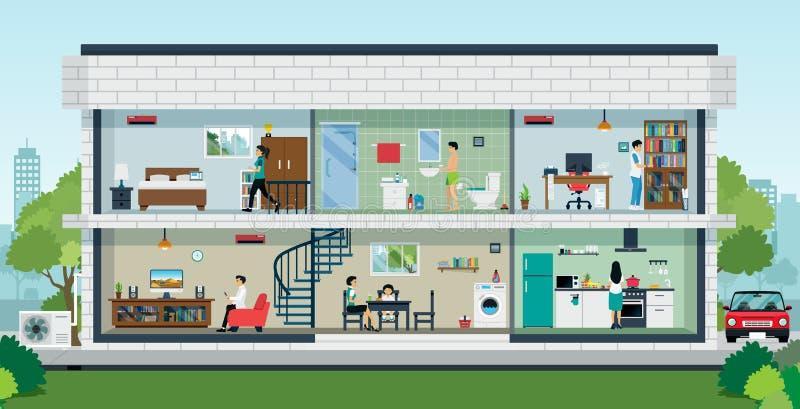 Glückliches Familienheim stock abbildung